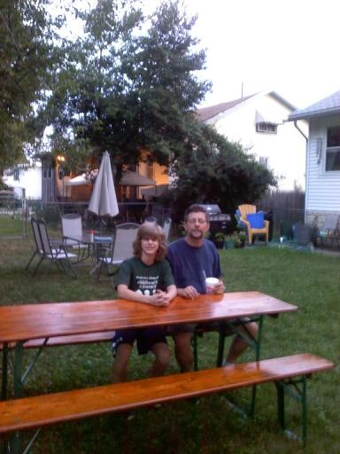 The finished beer table in our backyard in real life.
