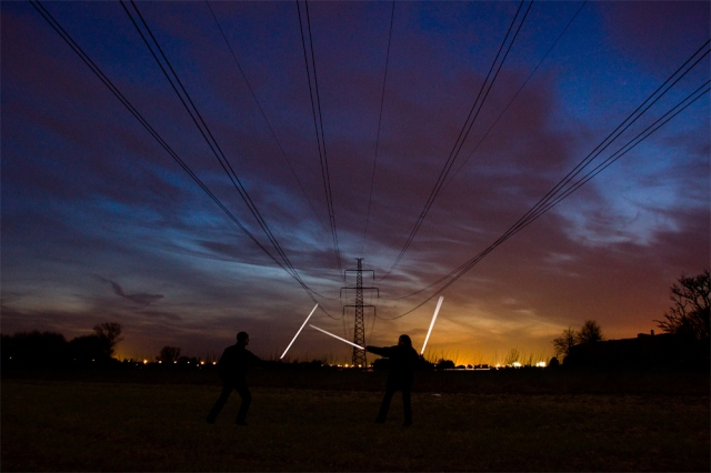 These flourescent tubes make great light sabers! From a great photo site called 808.dk:  http://www.808.dk/pv.asp?p=Fluorescent_tubes_under_power_lines.jpg&g=photos-denmark