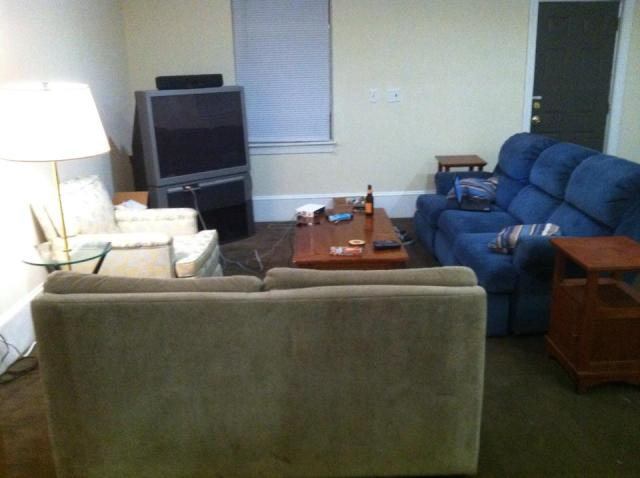 If moving a couch can be fun.....video games in this set up should be downright joyful!